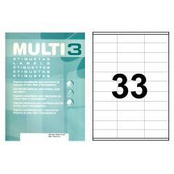 Etiqueta blanca cantos rectos multi 3 de 70x25,4 mm. caja de 500 hojas din a-4.