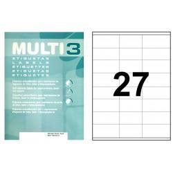Etiqueta blanca cantos rectos multi 3 de 70x30 mm. caja de 500 hojas din a4