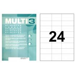 Etiqueta blanca cantos rectos multi 3 de 70x37 mm. caja de 500 hojas din a-4.