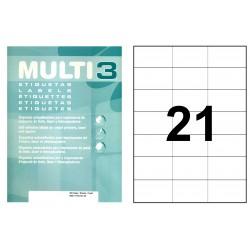 Etiqueta blanca cantos rectos multi 3 de 70x42,4 mm. caja de 500 hojas din a-4.