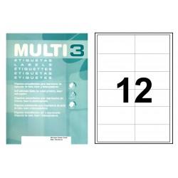 Etiqueta blanca cantos rectos multi 3 de 97x42,4 mm. caja de 500 hojas din a4