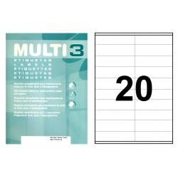 Etiqueta blanca cantos rectos multi 3 de 105x29 mm. caja de 500 hojas din a4