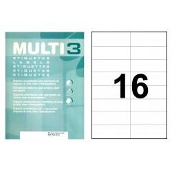 Etiqueta blanca cantos rectos multi 3 de 105x37 mm. caja de 500 hojas din a4