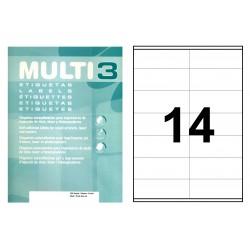 Etiqueta blanca cantos rectos multi 3 de 105x40 mm. caja de 500 hojas din a4