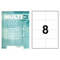 Etiqueta blanca cantos rectos multi 3 de 105x74 mm. caja de 500 hojas din a4