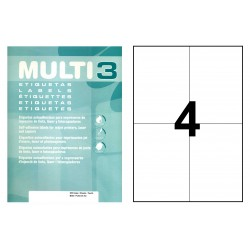 Etiqueta blanca cantos rectos multi 3 de 105x148 mm. caja de 500 hojas din a4