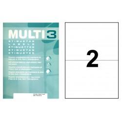 Etiqueta blanca cantos rectos multi 3 de 210x148 mm. caja de 500 hojas din a-4.