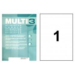 Etiqueta blanca cantos rectos multi 3 de 210x297 mm. caja de 500 hojas din a-4.
