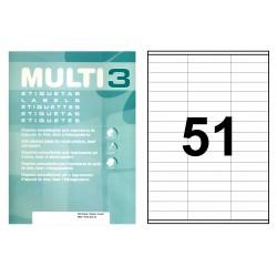 Etiqueta blanca cantos rectos multi 3 de 70x16,9 mm. caja de 500 hojas din a-4.
