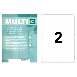 Etiqueta blanca cantos romos multi 3 de 199,6x144,5 mm. caja de 500 hojas din a-4.