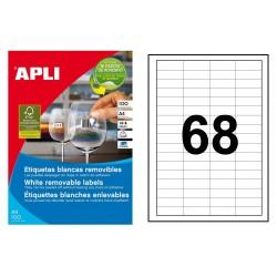 Etiqueta blanca removible cantos rectos apli de 48,5x16,9 mm. caja de 100 hojas din a4