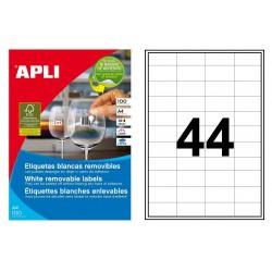 Etiqueta blanca removible cantos rectos apli de 38x21,2 mm. caja de 100 hojas din a-4.