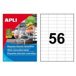Etiqueta blanca removible cantos rectos apli de 52,5x21,2 mm. caja de 100 hojas din a4