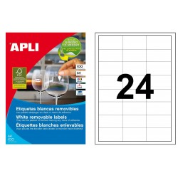 Etiqueta blanca removible cantos rectos apli de 64,6x33,8 mm. caja de 100 hojas din a4