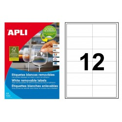 Etiqueta blanca removible cantos rectos apli de 97x42,4 mm. caja de 100 hojas din a-4.