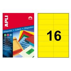 Etiqueta de color amarillo cantos rectos apli de 105x37 mm. blíster de 20 hojas din a4