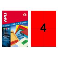Etiqueta de color rojo cantos rectos apli de 105x148 mm. blíster de 20 hojas din a4