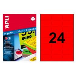 Etiqueta de color rojo fluorescente cantos romos apli de 64x33,9 mm. caja de 100 hojas din a-4.