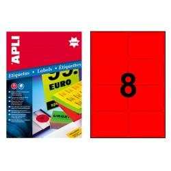 Etiqueta de color rojo fluorescente cantos romos apli de 99,1x67,7 mm. caja de 100 hojas din a-4.