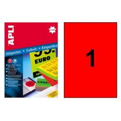 Etiqueta de color rojo fluorescente cantos rectos apli de 210x297 mm. caja de 100 hojas din a-4.