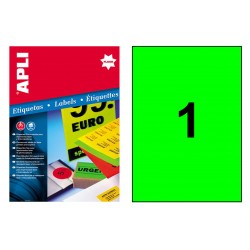 Etiqueta de color verde fluorescente cantos rectos apli de 210x297 mm. caja de 100 hojas din a-4.