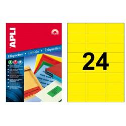 Etiqueta de color amarillo cantos rectos apli de 70x37 mm. caja de 100 hojas din a-4.
