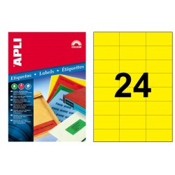 Etiqueta de color amarillo cantos rectos apli de 70x37 mm. caja de 100 hojas din a4