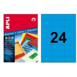 Etiqueta de color azul cantos rectos apli de 70x37 mm. caja de 100 hojas din a4