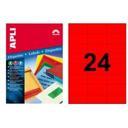 Etiqueta de color rojo cantos rectos apli de 70x37 mm. caja de 100 hojas din a4