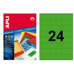 Etiqueta de color verde cantos rectos apli de 70x37 mm. caja de 100 hojas din a4