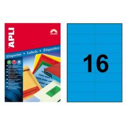 Etiqueta de color azul cantos rectos apli de 105x37 mm. caja de 100 hojas din a4
