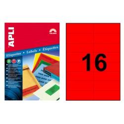 Etiqueta de color rojo cantos rectos apli de 105x37 mm. caja de 100 hojas din a4