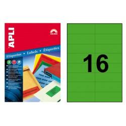 Etiqueta de color verde cantos rectos apli de 105x37 mm. caja de 100 hojas din a4
