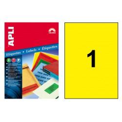 Etiqueta de color amarillo cantos rectos apli de 210x297 mm. caja de 100 hojas din a-4.