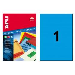 Etiqueta de color azul cantos rectos apli de 210x297 mm. caja de 100 hojas din a-4.