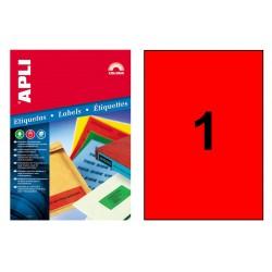 Etiqueta de color rojo cantos rectos apli de 210x297 mm. caja de 100 hojas din a-4.