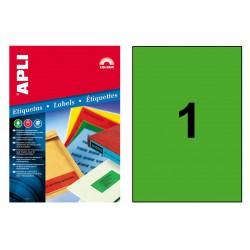 Etiqueta de color verde cantos rectos apli de 210x297 mm. caja de 100 hojas din a-4.