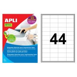 Etiqueta blanca para láser cantos rectos apli de 48,5x25,4 mm. caja de 250 hojas din a4
