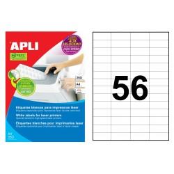 Etiqueta blanca para láser cantos rectos apli de 52,5x21,2 mm. caja de 250 hojas din a4