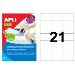 Etiqueta blanca para láser cantos rectos apli de 70x42,4 mm. caja de 250 hojas din a4