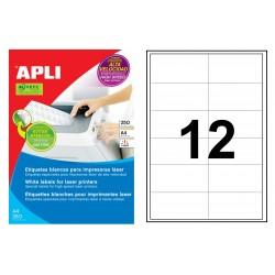 Etiqueta blanca para láser cantos rectos apli de 97x42,4 mm. caja de 250 hojas din a4