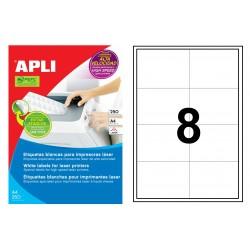 Etiqueta blanca para láser cantos rectos apli de 97x67,7 mm. caja de 250 hojas din a4