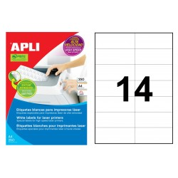Etiqueta blanca para láser cantos rectos apli de 105x42,4 mm. caja de 250 hojas din a4