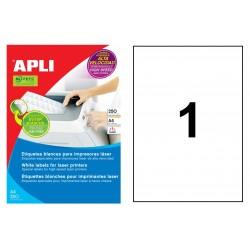 Etiqueta blanca para láser cantos rectos apli de 210x297 mm. caja de 250 hojas din a4