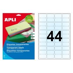 Etiqueta transparente brillante de poliéster cantos romos apli de 48,5x25,4 mm. blister de 10 hojas din A-4.