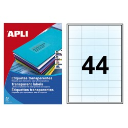 Etiqueta translúcida poliéster cantos rectos apli de 48,5X25,4 mm. blister de 20 hojas din A-4.