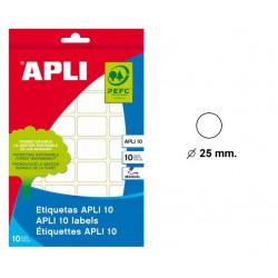 Etiqueta blanca para escritura manual apli 10 de 25 mm. de diámetro, blister de 10 hojas.