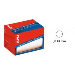 Etiqueta blanca apli en rollo para escritura manual de 13 mm. de diámetro.