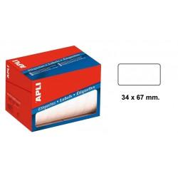 Etiqueta blanca en rollo para escritura manual apli de 34x53 mm.