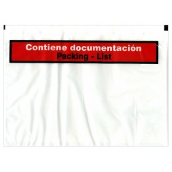 Sobre autoadhesivo portadocumentos de 180x140 mm. con texto impreso.